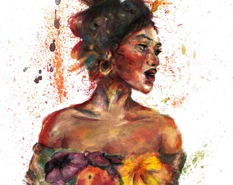 girl with flowers art print