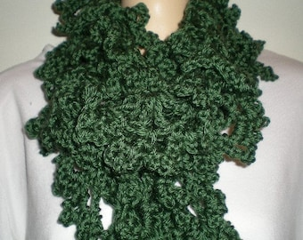 Scarf, scarves, crochet, women, girls. Green,  accessories