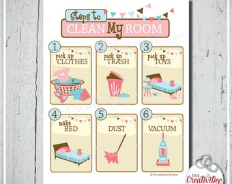 Clean My Room Chart | Pink | Cleaning Chart | Printable Chore Chart | Girl | Clean Room Chart | Instant Download | Routine Chart