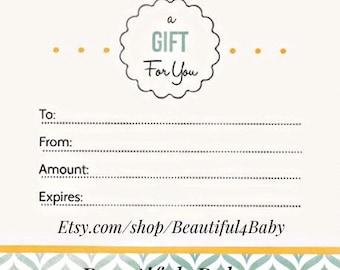 Beautiful 4 Baby Gift Certificate