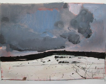 Rollover, Original Winter Landscape Painting on Paper, Stooshinoff