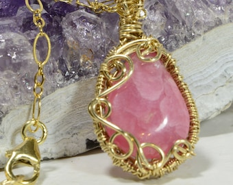 Rhodochrosite Wire Wrapped Pendant Gemstone Jewelry Wire Wrap Jewelry Wire Wrapped Jewelry Handmade