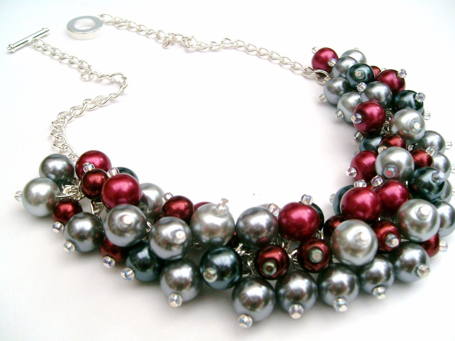 Red and Gray Cluster Necklace Winter Wedding Pearl