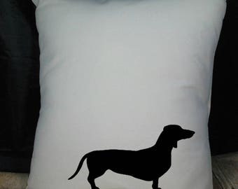 Dachshund Pillow Cover Natural Color Canvas with Black Dachshund Shape 18x18 Inch Cover Made to Order