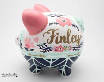 Boho Chic Floral Personalized Piggy Bank in Coral, Mint, Navy and Gold