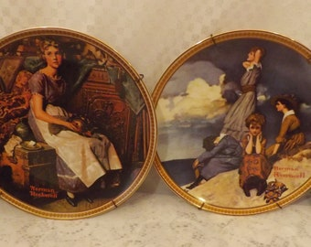 80s Rockwell Rediscovered Women Collection Plates Set of 2