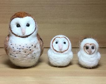 Needle Felted Owl, Felted Barn Owl, Needle Felted Bird, Needle Felted Animal, Mini Barn Owl, Owl Ornament, Owl Keychain, Owl Bag Charm