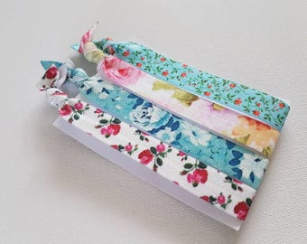 Large floral hair ties blue and pink flowers