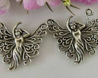 2 charms/pendants in antique silver Butterfly Fairy