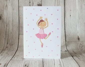 Ballet Girl Card - Greetings Card, Ballet, Pink, Handmade, Children, Kids, Girls