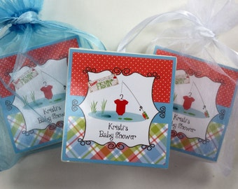 Baby Boy  shower favors,  soap favors,  set of 10, Gone Fishin theme