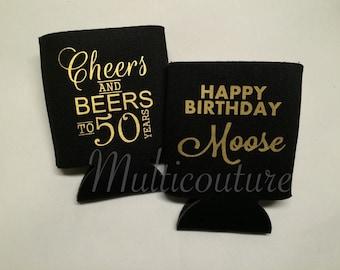 Cheers and beers to (50) years - Coolies: Birthday beverage holders
