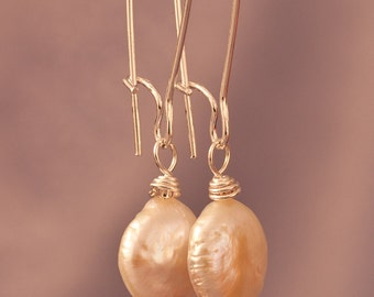 Coin Pearl on Long Kidney Wire Earrings - FREE SHIPPING