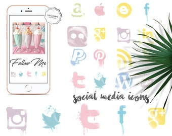 Pastel social media icons - Grunge social icons - Watercolor icons - Social Media Clipart - Pastel Grunge - Site Icons - Blog Design
