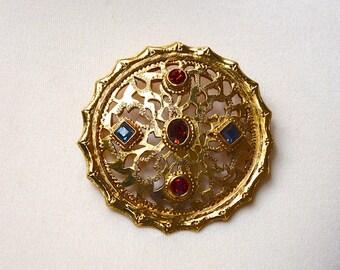 CHRISTIAN DIOR 1980 Byzantine Style Domed Brooch