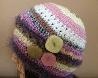 Women's Girls Beanie Hat. Freeform Crochet Hat with Vintage Buttons. Women's/Girls Crocheted Wool Hat with Free Shipping