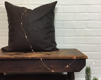 Upcycled Leather Pillow Cover No. 2