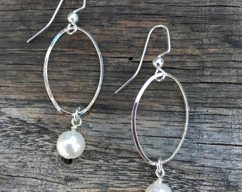 Pearl and Silver Dangle Classic Deborah Lynn Earrings,  Simple and Chic