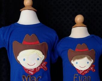 Personalized Cowboy Applique Shirt or Bodysuit Boy or Girl