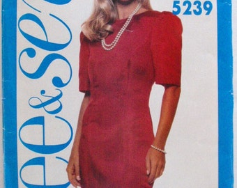 Sewing Pattern For Misses/Misses Petite Fitted Dress - Butterick 5239 - Sizes 12-14-16, Bust 34 - 38