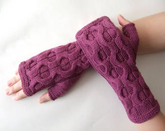Knitted of 100 % baby MERINO wool. Dark heather fingerless gloves, wrist warmers, fingerless mittens. Handmade gloves. Cable gloves.