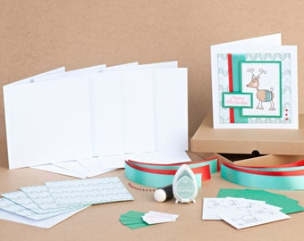Handstamped Reindeer Christmas Craft Kit, DIY Christmas Cards, Rudolf, Cardmaking Kit, Advanced kit, Christmas cards, handmade, papercraft