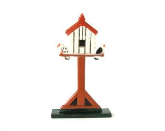 Vintage Wooden Birdhouse with Two Little Birds -  Old German children's toy wooden miniature figure / child's nursery room decoration