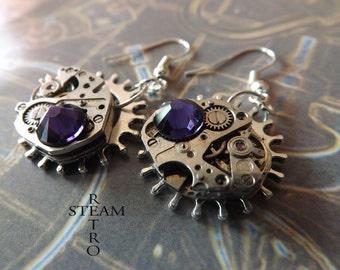 Steampunk Purple Velvet Earrings - Steampunk Jewelry by Steamretro - Steampunk Earrings