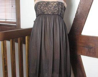 1960s Sheer Black Lacy Peignoir Set- size Large