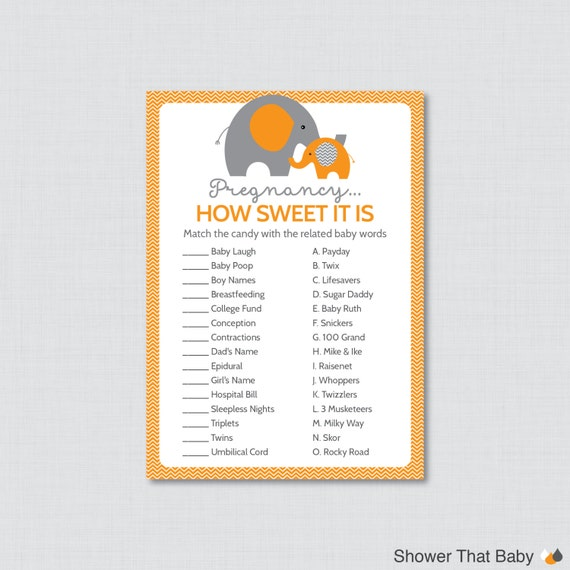 Sweet Sweet Baby Baby Shower Game: Elephant Baby Shower Pregnancy How Sweet It Is Game In Orange