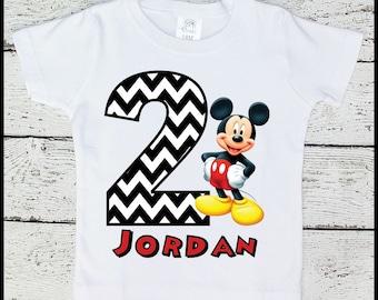 Custom Personalized Boys Mickey Mouse Birthday tee shirt