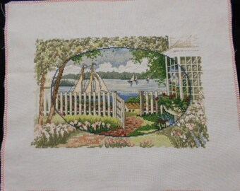 Finished Counted Cross Stitch Sailboats on Lake. Soothing scene is ready for framing or made into pillow.
