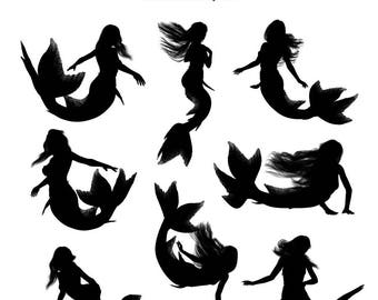 "Mermaid clipart: ""Mermaid Silhouettes"" mermaid photoshop brushes and PNG files, mermaid graphics"