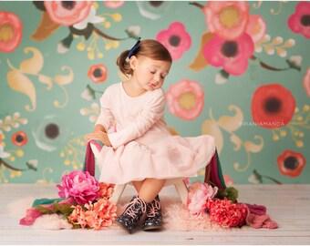 5ft x 5ft + Photography Backdrop - Emma Rose, Floral Backdrop, Flower Background, Teal Backdrop