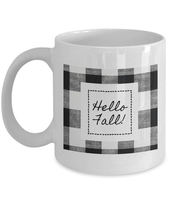 Coffee Mug - Hello Fall Black and White Buffalo plaid