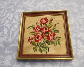 Floral roses Embroidery Framed Picture Vintage Wood Framed Handmade Needlepoint Wall Art Wall hanging Home decor Gift