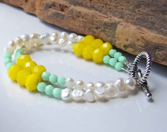 50% OFF Beaded Bracelet, Colorblock Bracelet, Freshwater Pearl Bracelet, Yellow and Mint Green, Etsy, Etsy Jewelry