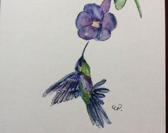 Feeding Hummingbird Watercolor Card / Hand Painted Watercolor Card