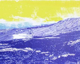 Yorkshire wall art, Whernside art print, Yorkshire three peaks poster print, mountain art, purple, yellow blue landscape affordable art
