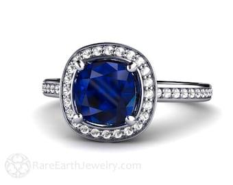 Cushion Blue Sapphire Engagement Ring Platinum Diamond Halo Custom Sapphire Ring Bridal Jewelry
