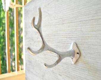 Single Deer Antler Cast Iron Wall Hook, Coat Hook, Towel Hook, Faux Taxidermy, Holder,