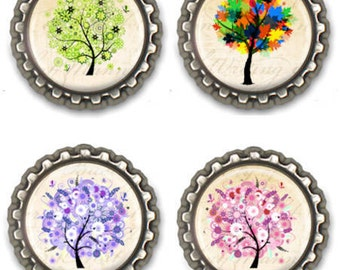 Fridge Tree Magnets Office Locker Scrapbook Magnets Set of Four Purple Pink Multi Colored