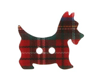 3 Plaid Scottie Dog 7/8 inch ( 22 mm ) Two Hole Novelty Sewing Buttons
