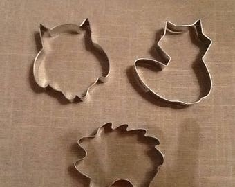 Woodland Cookie Cutter, Set of 3 - Hedgehog, Fox, Owl