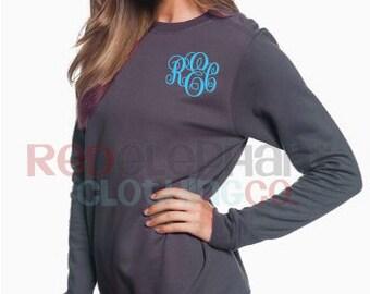 Monogrammed Sweatshirt, Monogrammed Pullover Sweatshirt, Crewneck Sweatshirt, Monogram long sleeve, monogram shirt, Ladies Crew neck