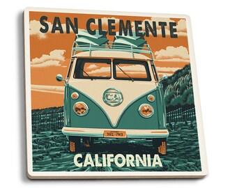 San Clemente, CA - VW Van - LP Artwork (Set of 4 Ceramic Coasters)