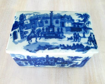 Blue Transferware Covered Box Victoria Ware Ironstone Vintage Reproduction