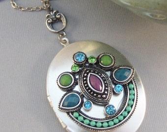 Gypsy Magic,Locket,Silver,Turquoise Necklace,Gemstone,Necklace,Antique Locket,Blue Stone,Green STone,Purple STone.valleygirldesigns.