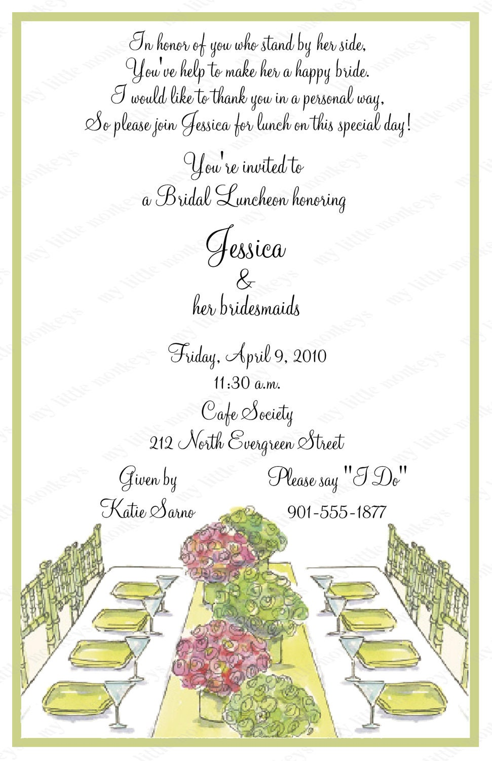 10 bridal luncheon invitations with envelopes free return for Wedding brunch invitations