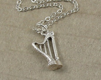 Harp Necklace, Silver Musical Harp Charm on a Silver Cable Chain